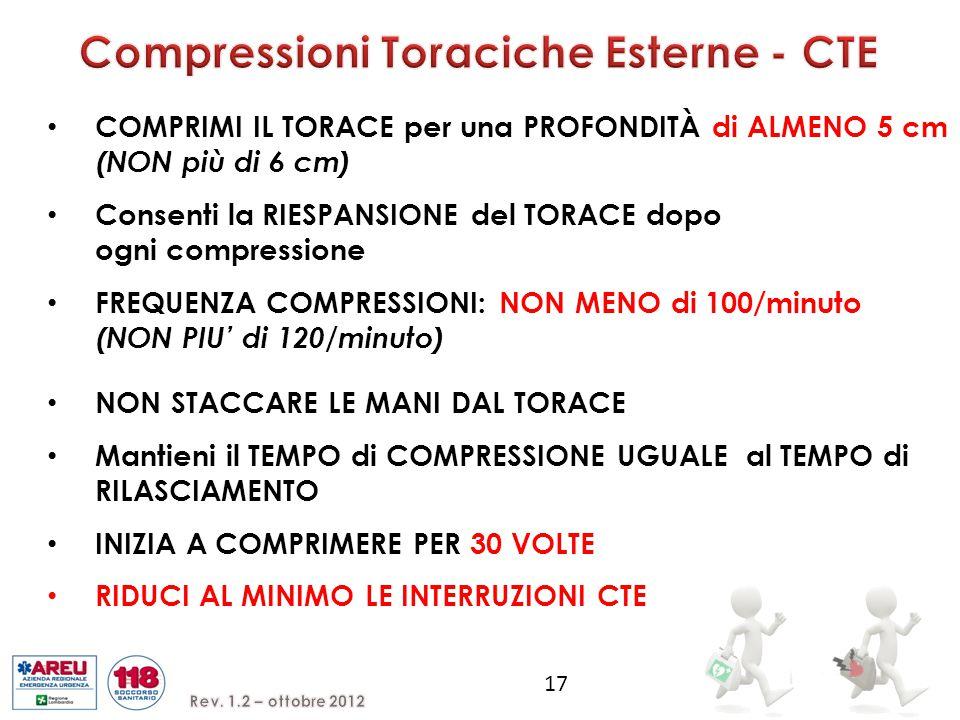 COMPRIMI IL TORACE per una PROFONDITÀ di ALMENO 5 cm (NON più di 6 cm) Consenti la RIESPANSIONE del TORACE dopo ogni compressione FREQUENZA COMPRESSIONI: NON MENO di 100/minuto (NON PIU' di 120/minuto) 17 NON STACCARE LE MANI DAL TORACE Mantieni il TEMPO di COMPRESSIONE UGUALE al TEMPO di RILASCIAMENTO INIZIA A COMPRIMERE PER 30 VOLTE RIDUCI AL MINIMO LE INTERRUZIONI CTE