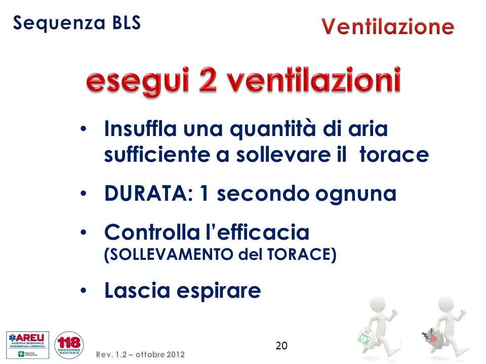 Insuffla una quantità di aria sufficiente a sollevare il torace DURATA: 1 secondo ognuna Controlla l'efficacia (SOLLEVAMENTO del TORACE) Lascia espirare 20