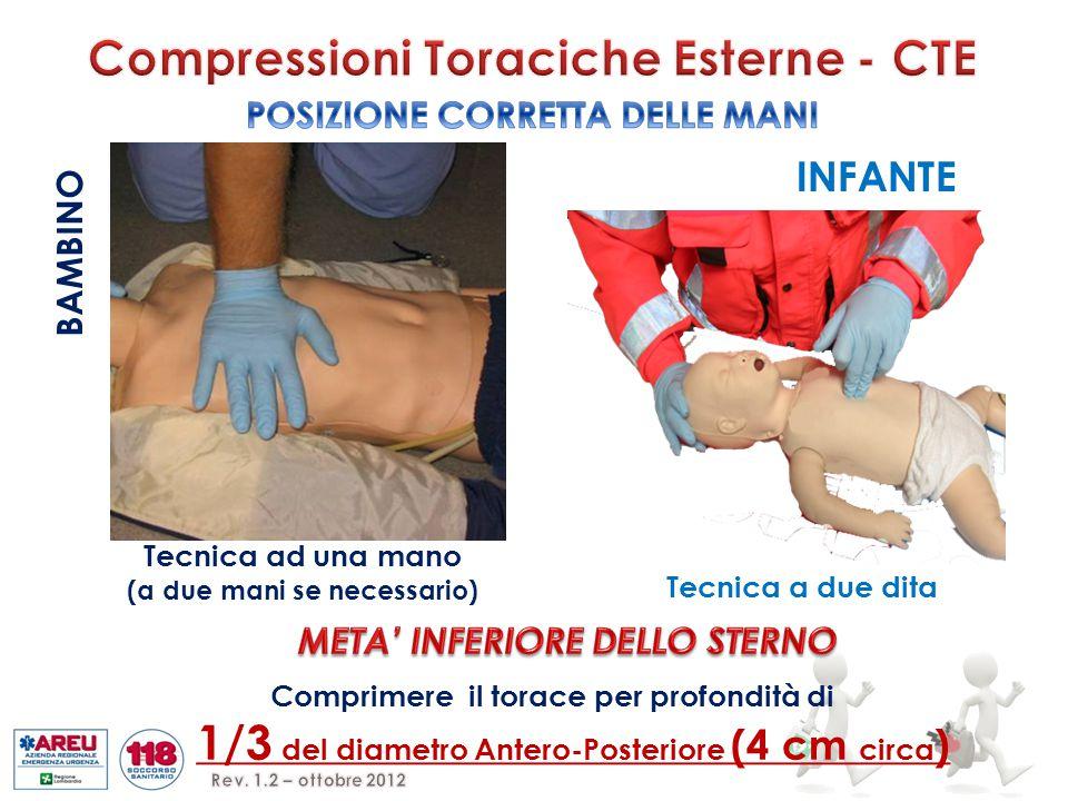 Tecnica ad una mano (a due mani se necessario) INFANTE Tecnica a due dita BAMBINO Comprimere il torace per profondità di 1/3 del diametro Antero-Posteriore (4 cm circa )