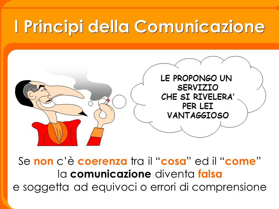"""I Principi della Comunicazione LE PROPONGO UN SERVIZIO CHE SI RIVELERA' PER LEI VANTAGGIOSO Se non c'è coerenza tra il """" cosa """" ed il """" come """" la comu"""