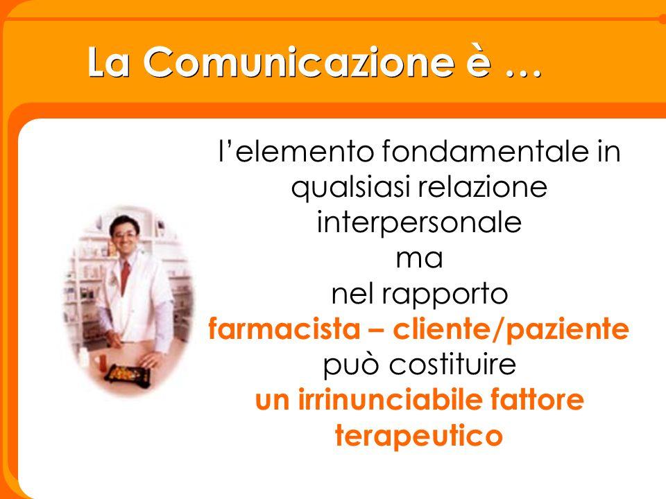 La Comunicazione è … l'elemento fondamentale in qualsiasi relazione interpersonale ma nel rapporto farmacista – cliente/paziente può costituire un irr
