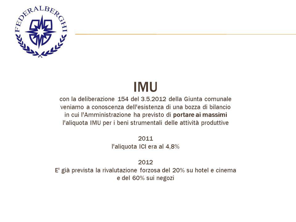 IMU con la deliberazione 154 del 3.5.2012 della Giunta comunale veniamo a conoscenza dell esistenza di una bozza di bilancio in cui l Amministrazione ha previsto di portare ai massimi l aliquota IMU per i beni strumentali delle attività produttive 2011 l aliquota ICI era al 4,8% 2012 E già prevista la rivalutazione forzosa del 20% su hotel e cinema e del 60% sui negozi