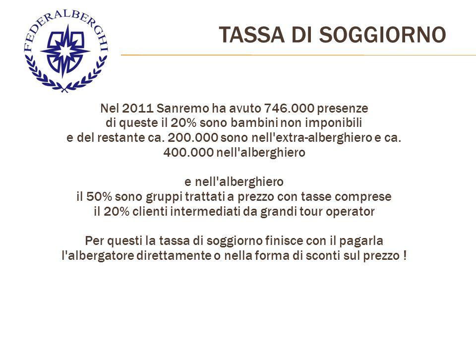 Nel 2011 Sanremo ha avuto 746.000 presenze di queste il 20% sono bambini non imponibili e del restante ca.