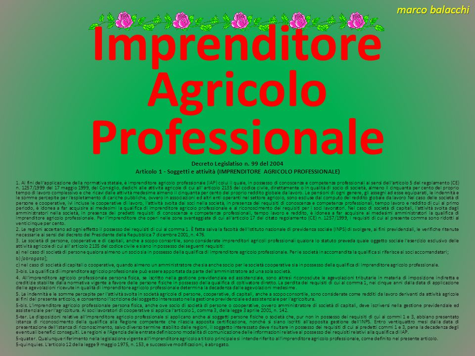 marco balacchi Imprenditore Agricolo 1.