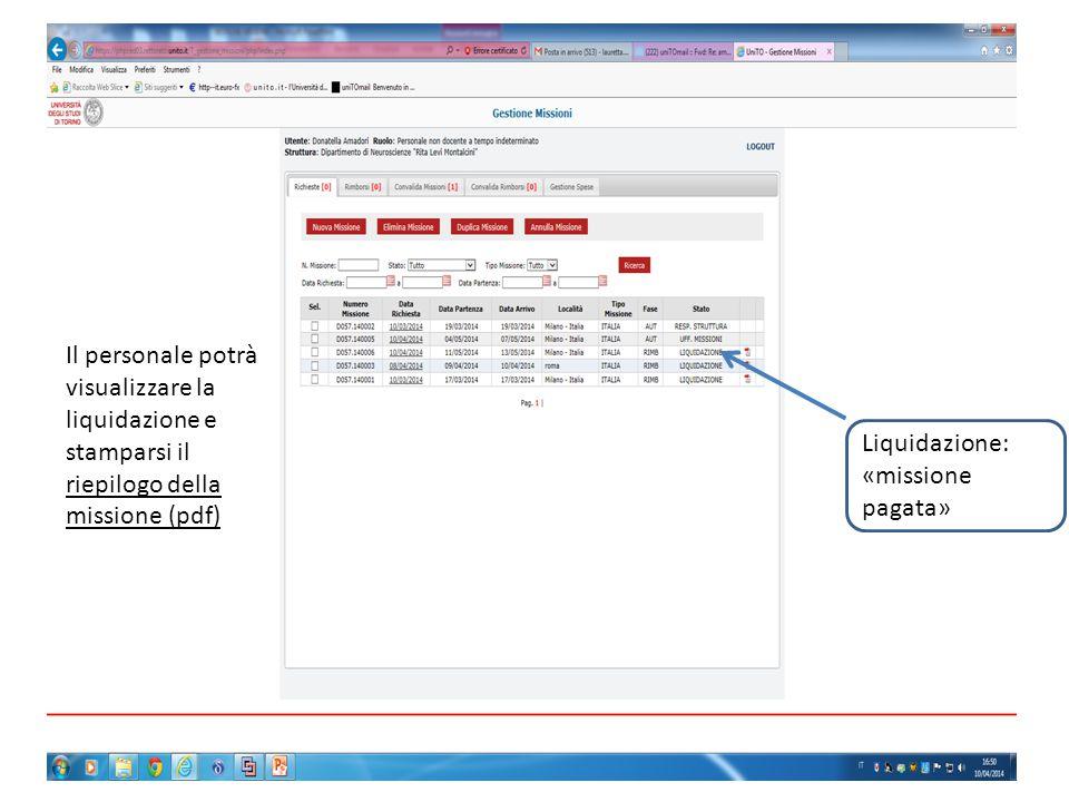 Il personale potrà visualizzare la liquidazione e stamparsi il riepilogo della missione (pdf) Liquidazione: «missione pagata»