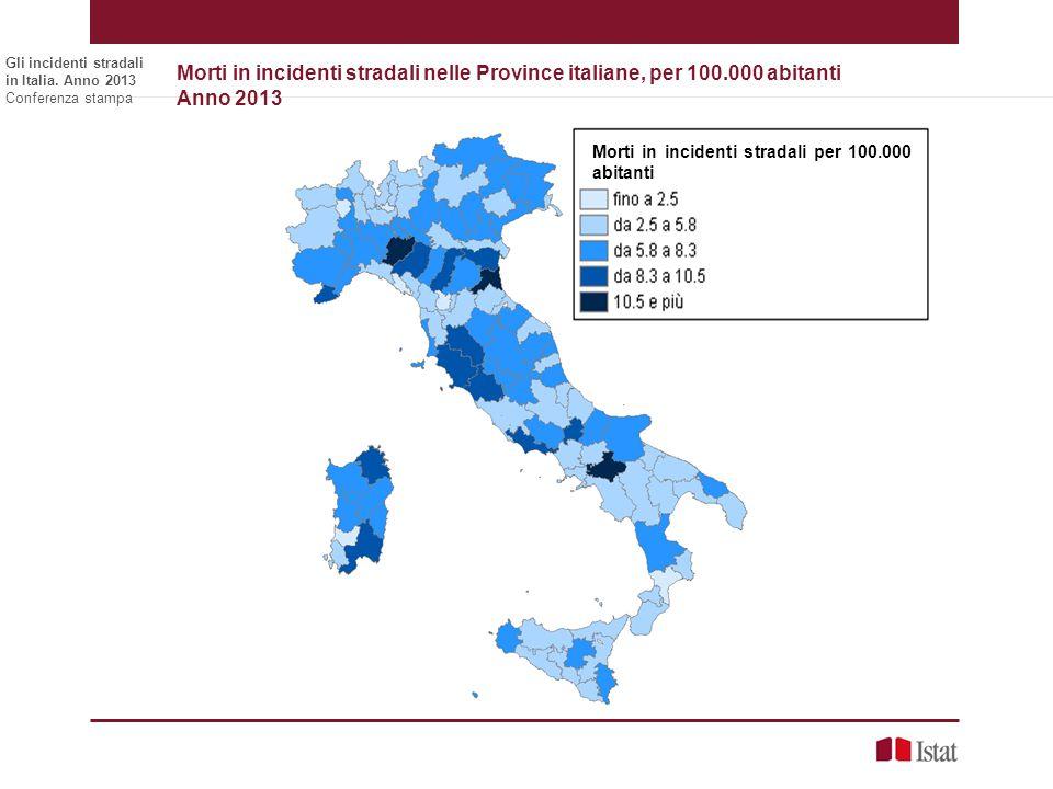 Gli incidenti stradali in Italia. Anno 2013 Conferenza stampa Morti in incidenti stradali nelle Province italiane, per 100.000 abitanti Anno 2013 Nume