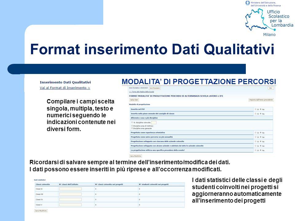 Format inserimento Dati Qualitativi Compilare i campi scelta singola, multipla, testo e numerici seguendo le indicazioni contenute nei diversi form. I