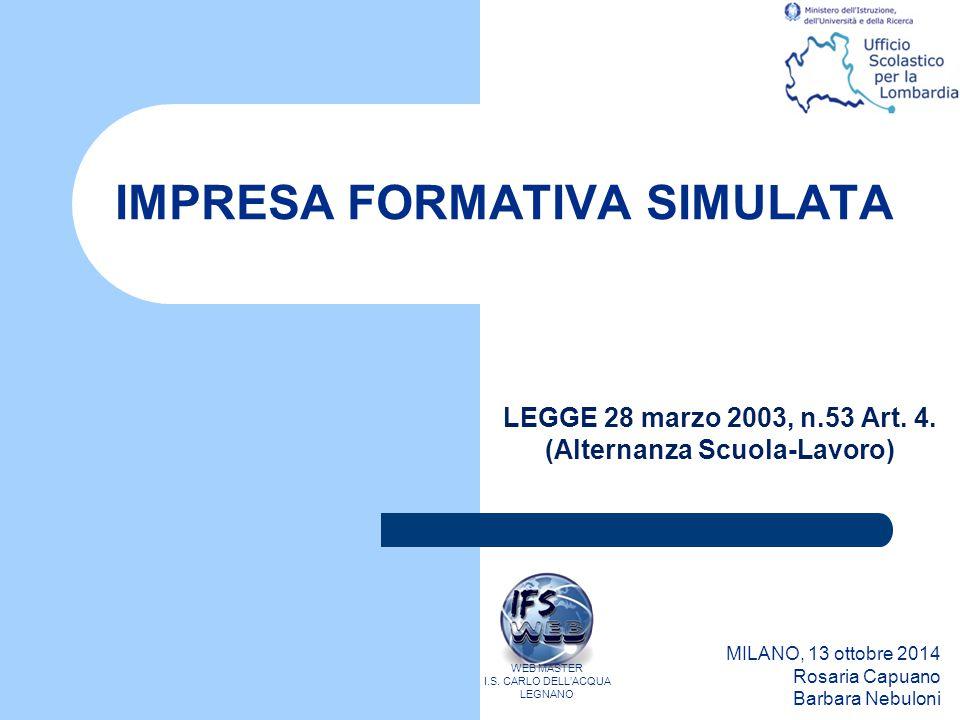 IMPRESA FORMATIVA SIMULATA MILANO, 13 ottobre 2014 Rosaria Capuano Barbara Nebuloni WEB MASTER I.S. CARLO DELL'ACQUA LEGNANO LEGGE 28 marzo 2003, n.53