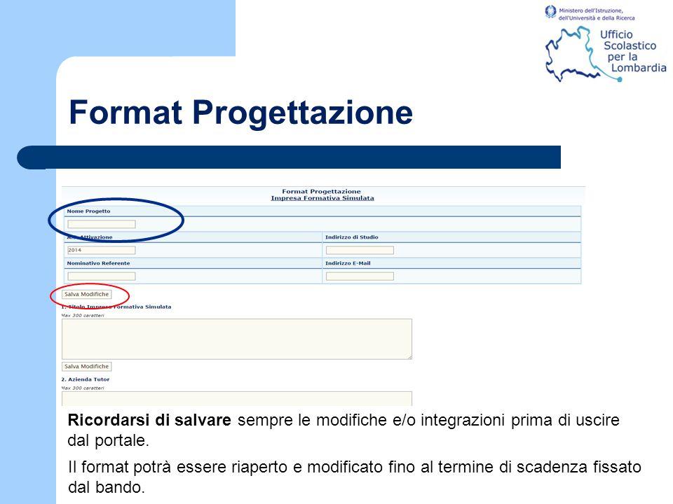 Format Progettazione Il format potrà essere riaperto e modificato fino al termine di scadenza fissato dal bando. Ricordarsi di salvare sempre le modif