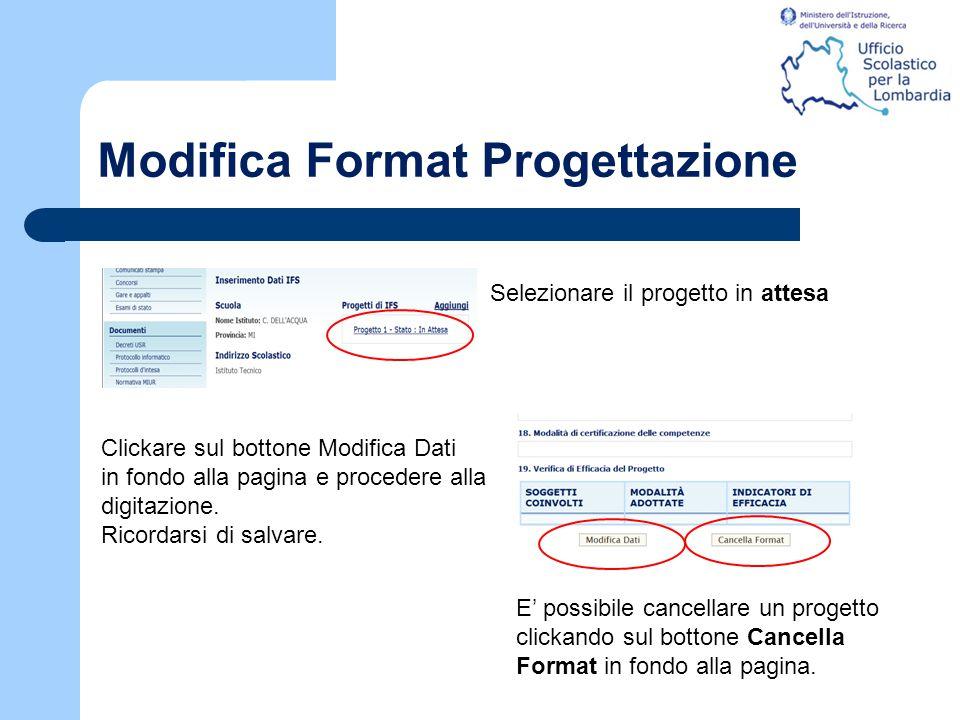 Modifica Format Progettazione Selezionare il progetto in attesa Clickare sul bottone Modifica Dati in fondo alla pagina e procedere alla digitazione.