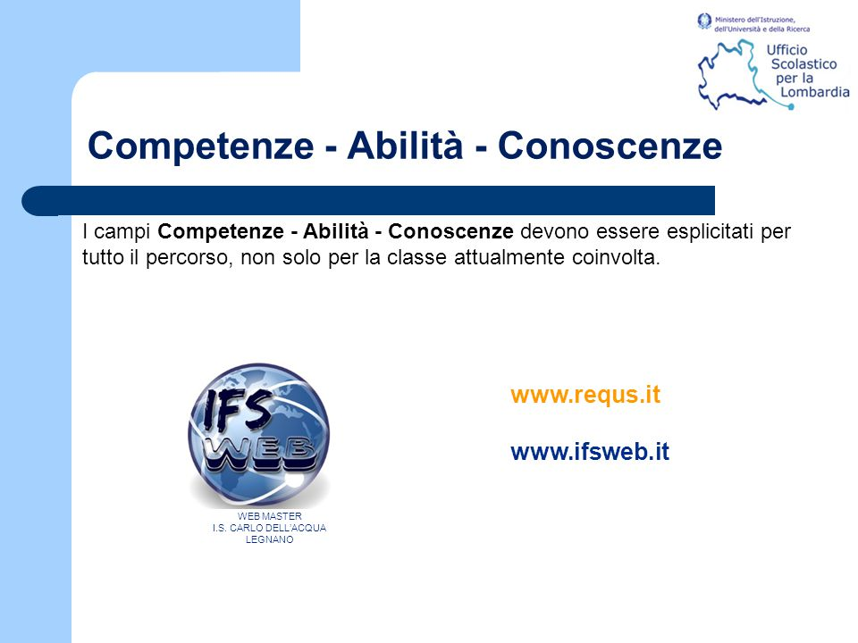 Competenze - Abilità - Conoscenze I campi Competenze - Abilità - Conoscenze devono essere esplicitati per tutto il percorso, non solo per la classe at