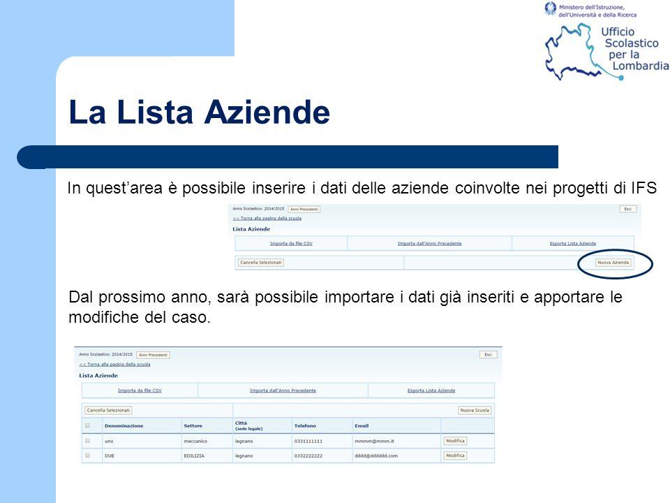 La Lista Aziende In quest'area è possibile inserire i dati delle aziende coinvolte nei progetti di IFS Dal prossimo anno, sarà possibile importare i d