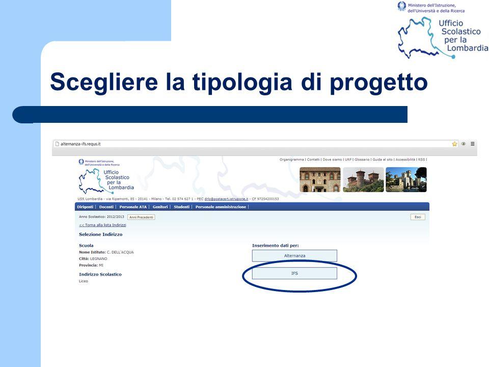 Scegliere la tipologia di progetto
