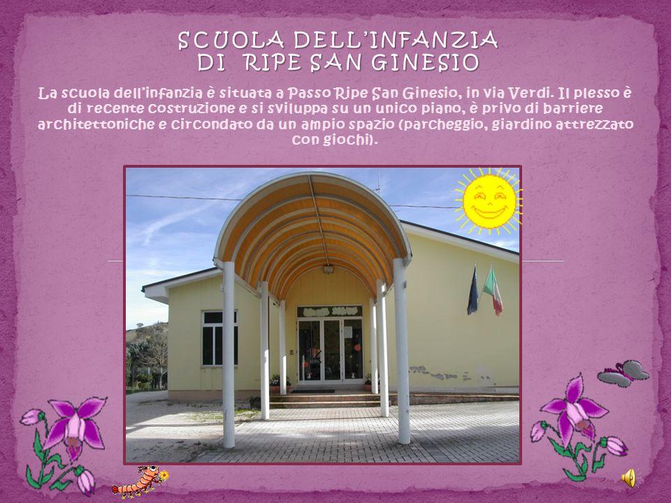 La scuola dell'infanzia è situata a Passo Ripe San Ginesio, in via Verdi. Il plesso è di recente costruzione e si sviluppa su un unico piano, è privo