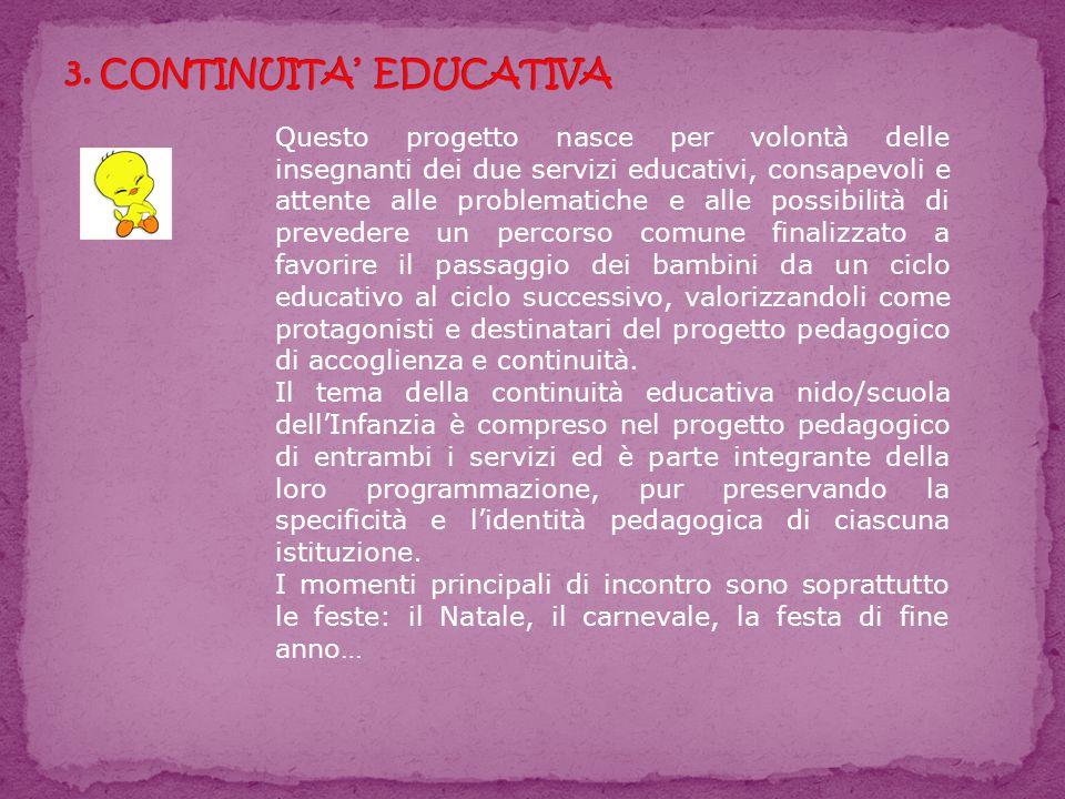 Questo progetto nasce per volontà delle insegnanti dei due servizi educativi, consapevoli e attente alle problematiche e alle possibilità di prevedere