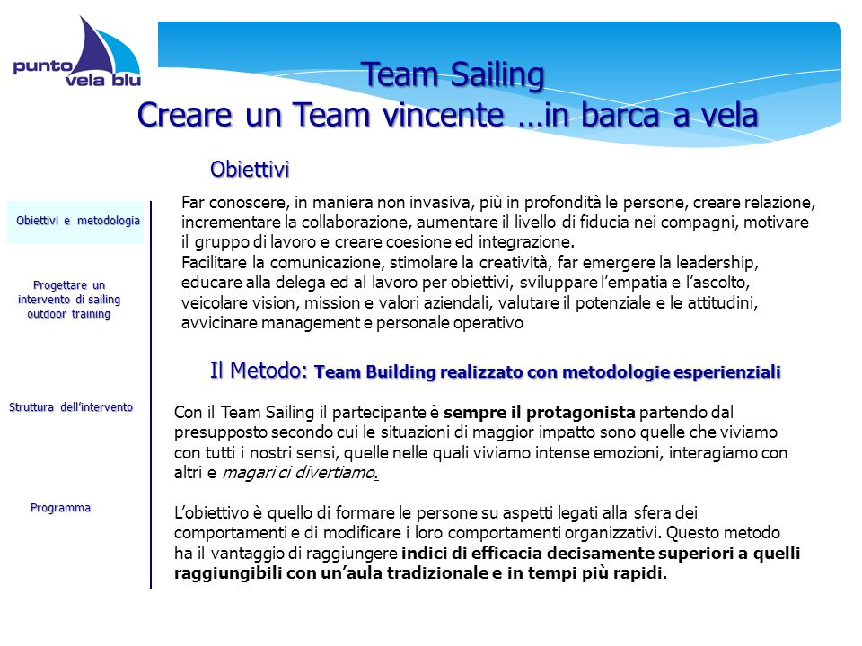 2 Team Sailing Creare un Team vincente …in barca a vela Far conoscere, in maniera non invasiva, più in profondità le persone, creare relazione, increm