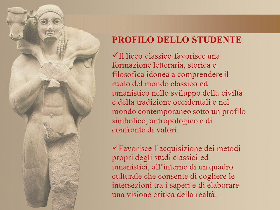 Il liceo classico favorisce una formazione letteraria, storica e filosofica idonea a comprendere il ruolo del mondo classico ed umanistico nello svilu