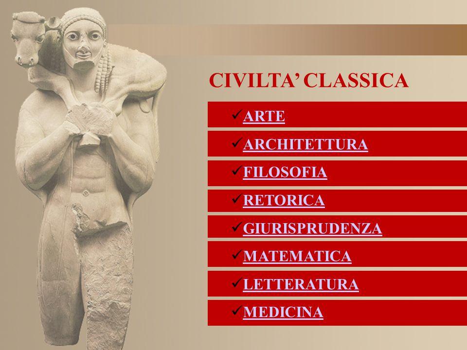 CIVILTA' CLASSICA ARTE ARCHITETTURA FILOSOFIA RETORICA GIURISPRUDENZA MATEMATICA LETTERATURA MEDICINA