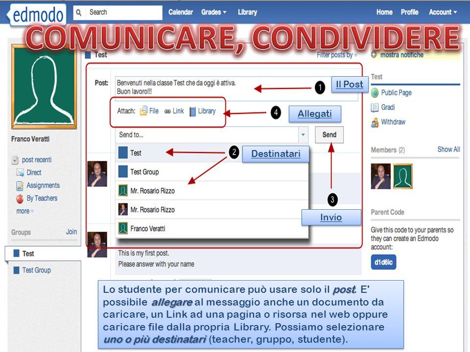 Il Post Allegati Destinatari Invio post allegare uno o più destinatari Lo studente per comunicare può usare solo il post.