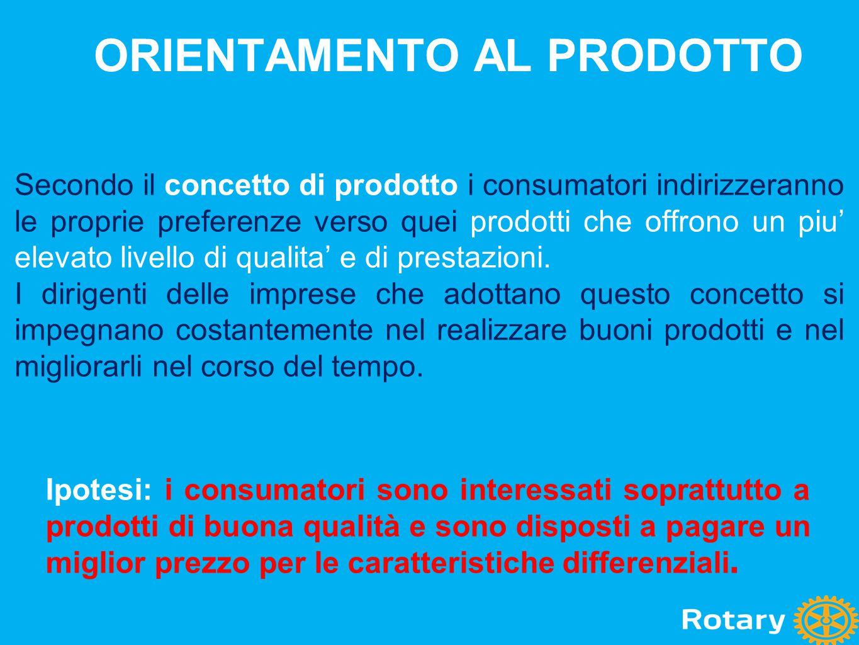 ORIENTAMENTO AL PRODOTTO Secondo il concetto di prodotto i consumatori indirizzeranno le proprie preferenze verso quei prodotti che offrono un piu' el