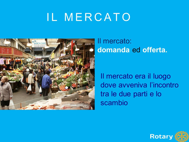 IL MERCATO Il mercato: domanda ed offerta. Il mercato era il luogo dove avveniva l'incontro tra le due parti e lo scambio