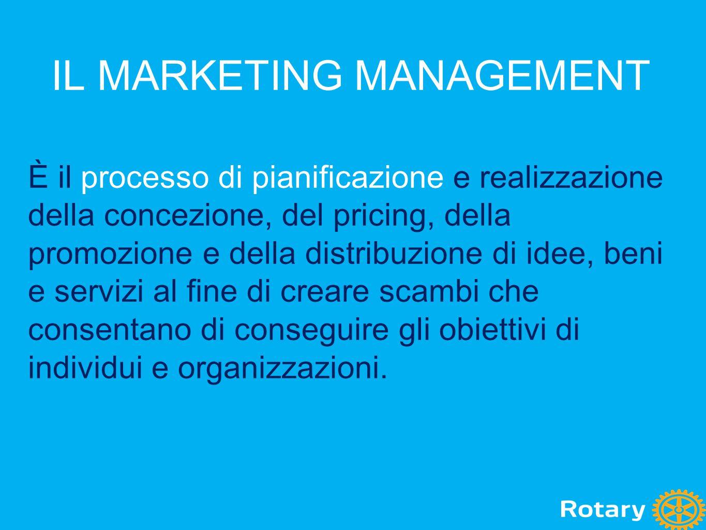 IL MARKETING MANAGEMENT È il processo di pianificazione e realizzazione della concezione, del pricing, della promozione e della distribuzione di idee,