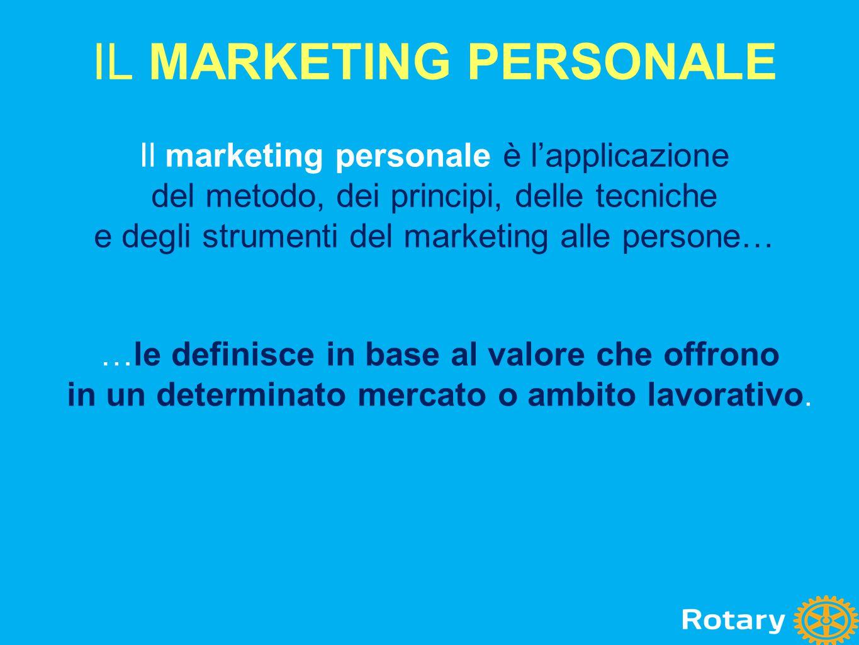 Il marketing personale è l'applicazione del metodo, dei principi, delle tecniche e degli strumenti del marketing alle persone… IL MARKETING PERSONALE