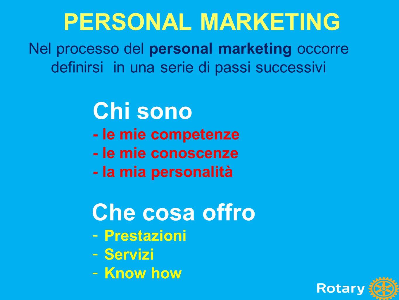 Nel processo del personal marketing occorre definirsi in una serie di passi successivi Chi sono - le mie competenze - le mie conoscenze - la mia perso