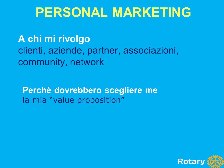 """A chi mi rivolgo clienti, aziende, partner, associazioni, community, network Perchè dovrebbero scegliere me la mia """"value proposition"""" PERSONAL MARKET"""