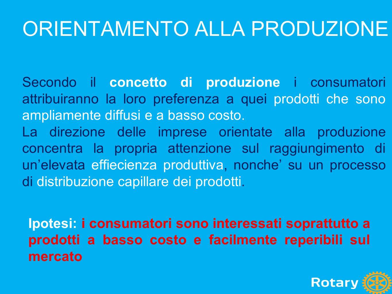 ORIENTAMENTO AL PRODOTTO Secondo il concetto di prodotto i consumatori indirizzeranno le proprie preferenze verso quei prodotti che offrono un piu' elevato livello di qualita' e di prestazioni.