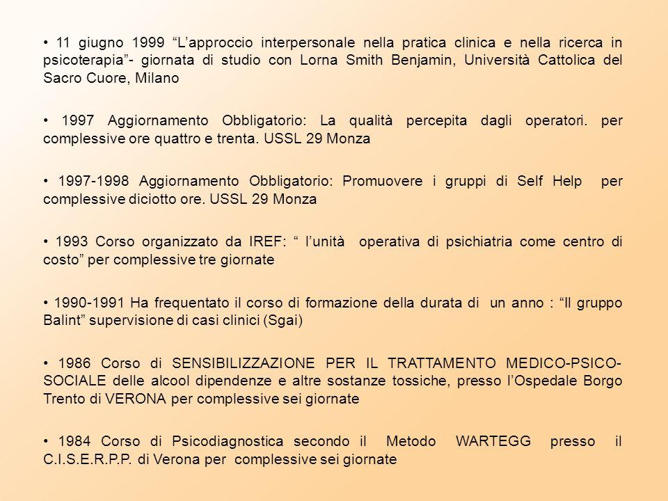 - 2003 Definizione e gestione del progetto di cura per pazienti con diagnosi di depressione maggiore. corso ECM Az Ospedaliera S. Gerardo Monza. 29th