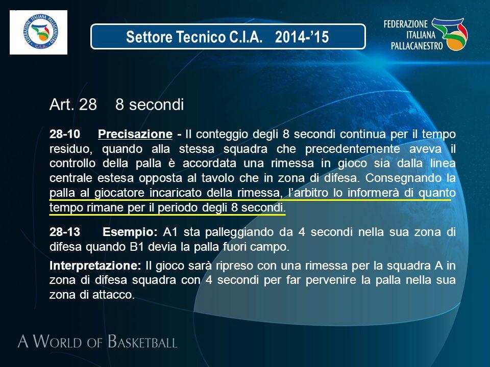 Art. 28 8 secondi 28-10 Precisazione - Il conteggio degli 8 secondi continua per il tempo residuo, quando alla stessa squadra che precedentemente avev