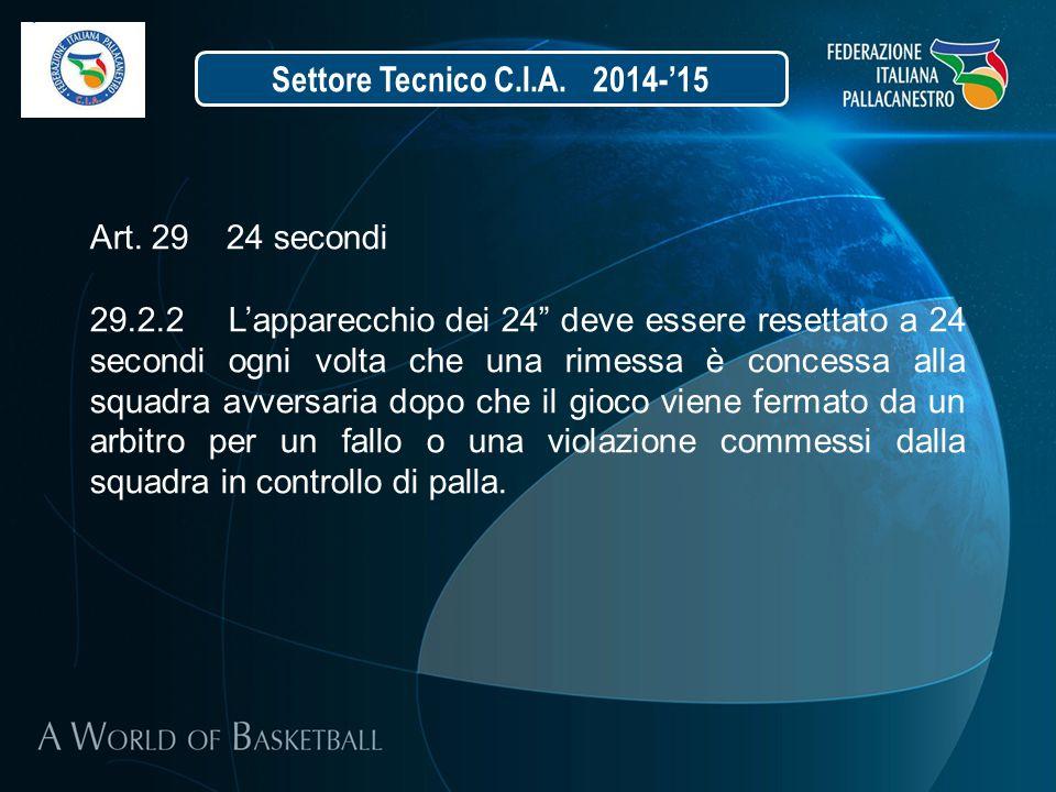 """Settore Tecnico C.I.A. 2014-'15 Art. 29 24 secondi 29.2.2 L'apparecchio dei 24"""" deve essere resettato a 24 secondi ogni volta che una rimessa è conces"""