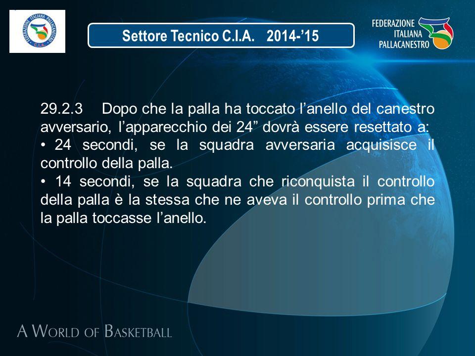 """Settore Tecnico C.I.A. 2014-'15 29.2.3 Dopo che la palla ha toccato l'anello del canestro avversario, l'apparecchio dei 24"""" dovrà essere resettato a:"""