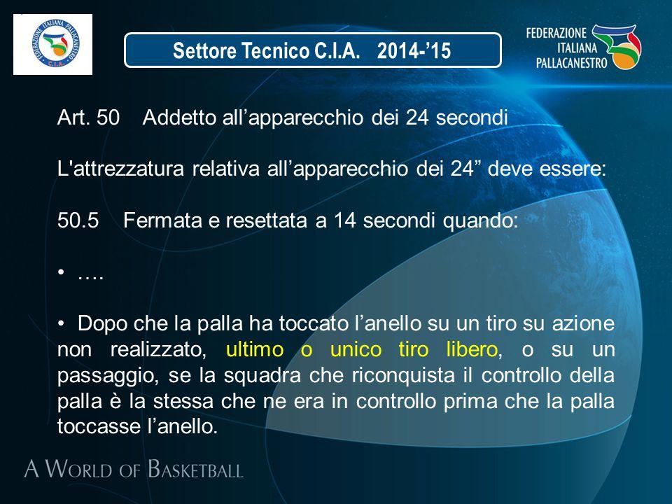 """Settore Tecnico C.I.A. 2014-'15 Art. 50 Addetto all'apparecchio dei 24 secondi L'attrezzatura relativa all'apparecchio dei 24"""" deve essere: 50.5 Ferma"""