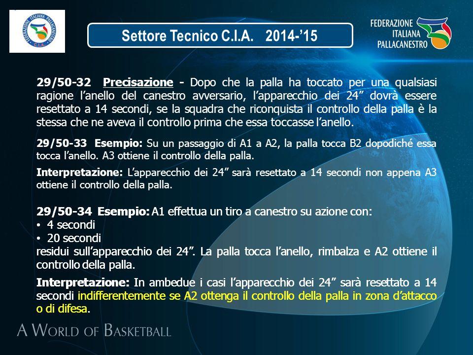 Settore Tecnico C.I.A. 2014-'15 29/50-32 Precisazione - Dopo che la palla ha toccato per una qualsiasi ragione l'anello del canestro avversario, l'app
