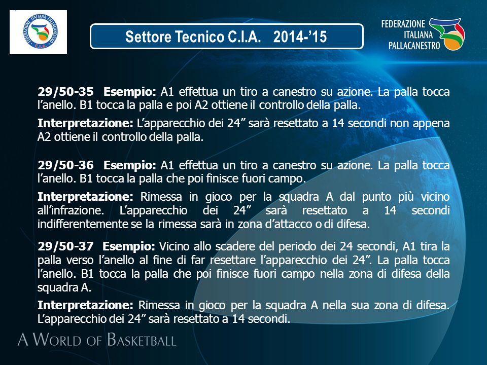 Settore Tecnico C.I.A. 2014-'15 29/50-35 Esempio: A1 effettua un tiro a canestro su azione. La palla tocca l'anello. B1 tocca la palla e poi A2 ottien