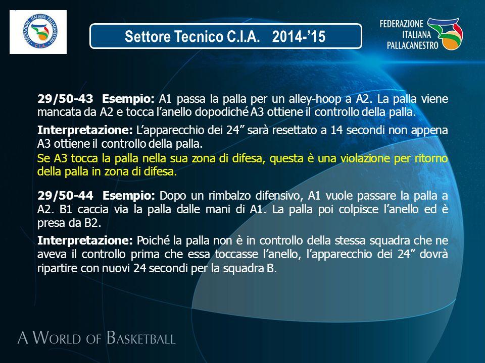 Settore Tecnico C.I.A. 2014-'15 29/50-44 Esempio: Dopo un rimbalzo difensivo, A1 vuole passare la palla a A2. B1 caccia via la palla dalle mani di A1.
