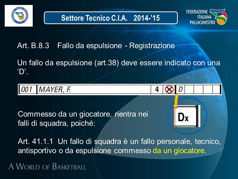 Settore Tecnico C.I.A. 2014-'15 Art. B.8.3 Fallo da espulsione - Registrazione Un fallo da espulsione (art.38) deve essere indicato con una 'D'. Comme