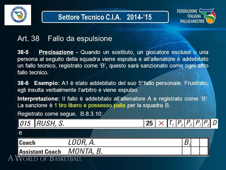 Settore Tecnico C.I.A. 2014-'15 Art. 38 Fallo da espulsione 38-5 Precisazione - Quando un sostituto, un giocatore escluso o una persona al seguito del