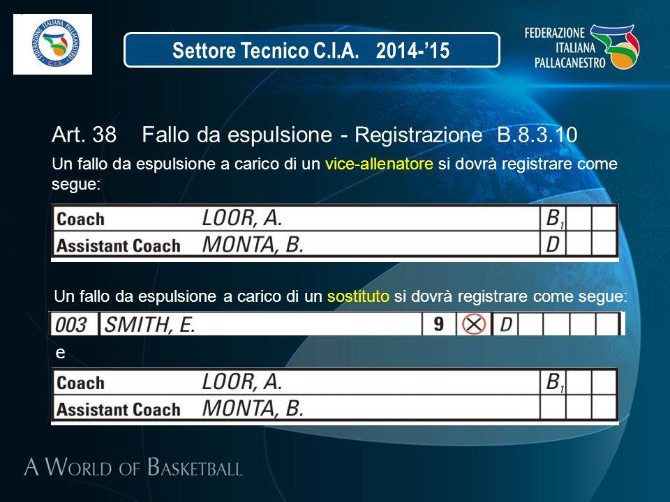 Settore Tecnico C.I.A. 2014-'15 Art. 38 Fallo da espulsione - Registrazione B.8.3.10 Un fallo da espulsione a carico di un vice-allenatore si dovrà re