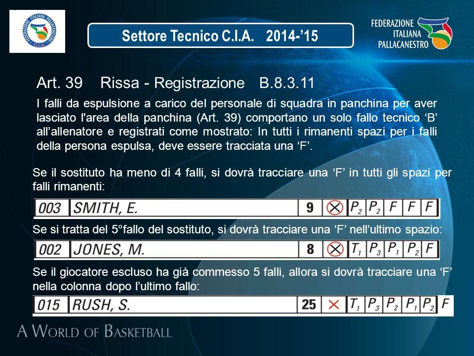Settore Tecnico C.I.A. 2014-'15 Art. 39 Rissa - Registrazione B.8.3.11 I falli da espulsione a carico del personale di squadra in panchina per aver la
