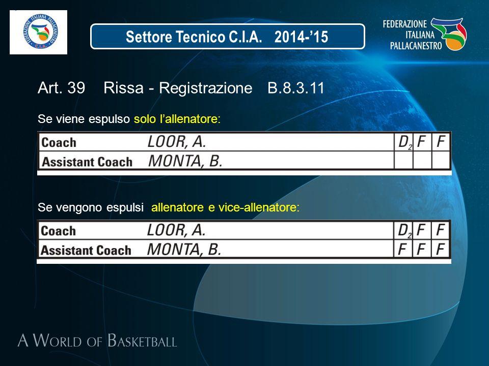 Settore Tecnico C.I.A. 2014-'15 Art. 39 Rissa - Registrazione B.8.3.11 Se viene espulso solo l'allenatore: Se vengono espulsi allenatore e vice-allena
