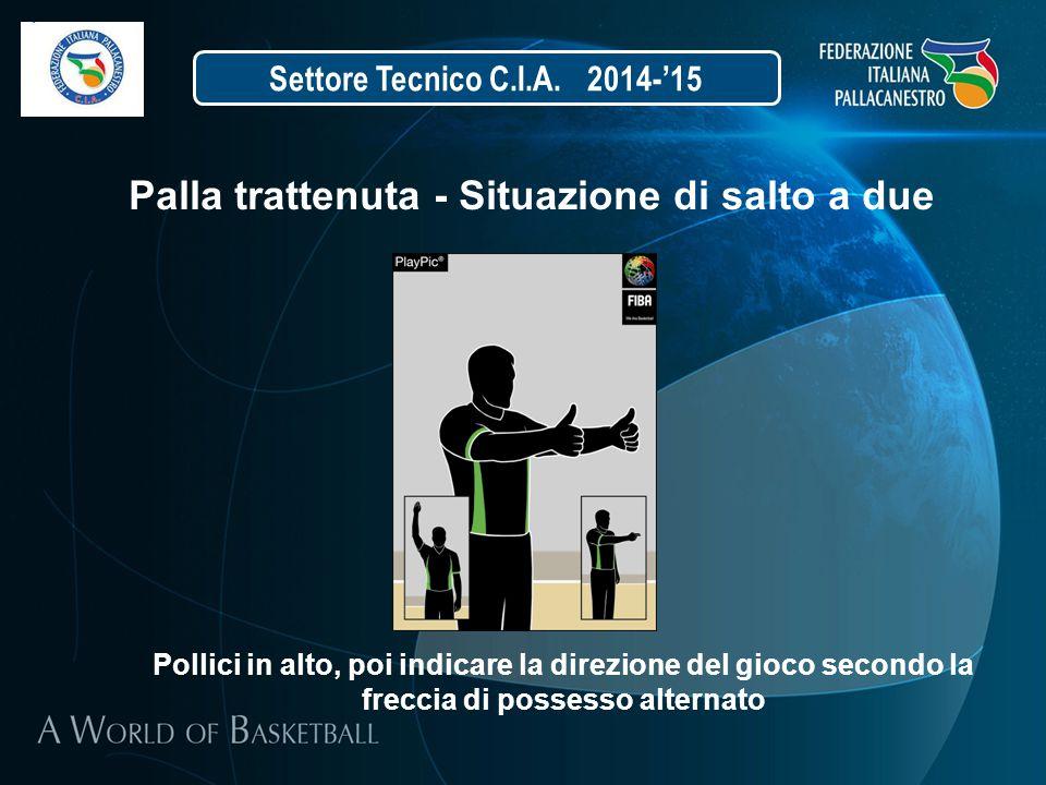 Settore Tecnico C.I.A. 2014-'15 Palla trattenuta - Situazione di salto a due Pollici in alto, poi indicare la direzione del gioco secondo la freccia d