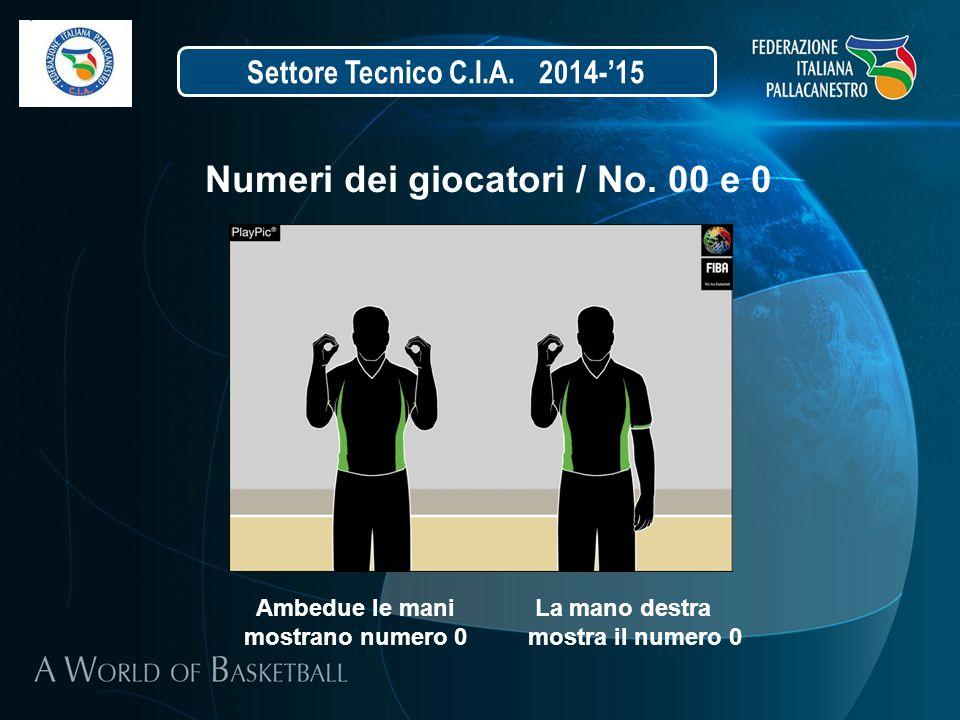 Settore Tecnico C.I.A. 2014-'15 Numeri dei giocatori / No. 00 e 0 Ambedue le mani La mano destra mostrano numero 0 mostra il numero 0