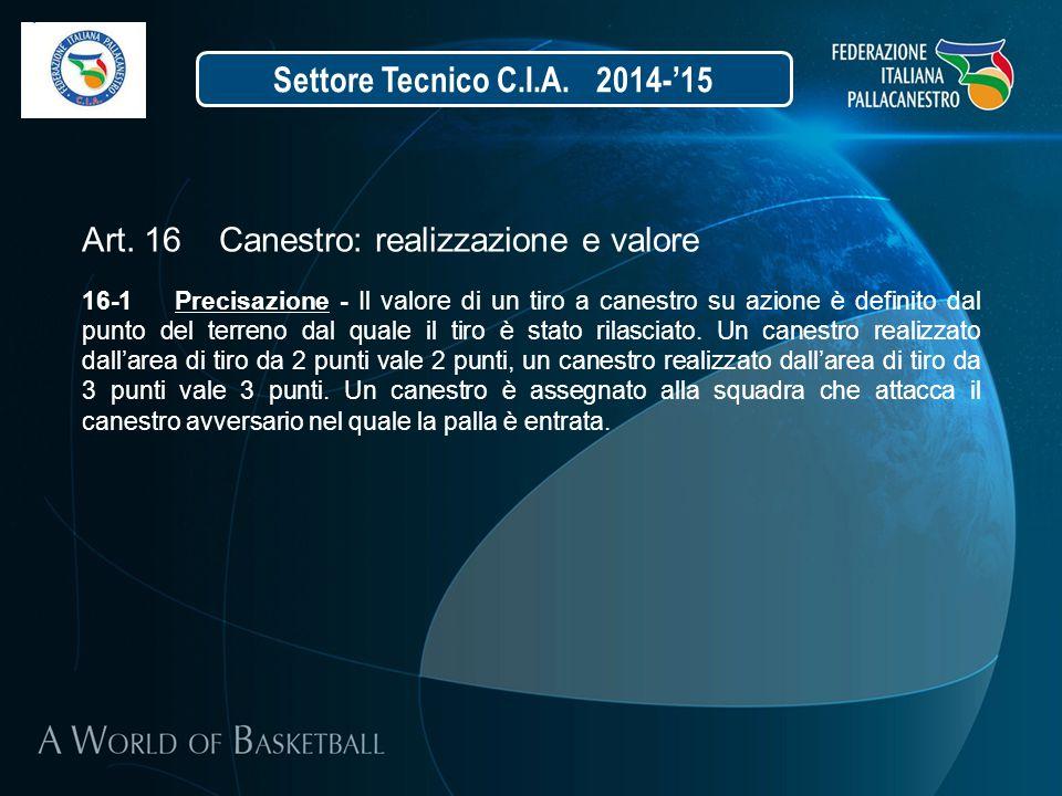 Settore Tecnico C.I.A. 2014-'15 Art. 16 Canestro: realizzazione e valore 16-1 Precisazione - Il valore di un tiro a canestro su azione è definito dal