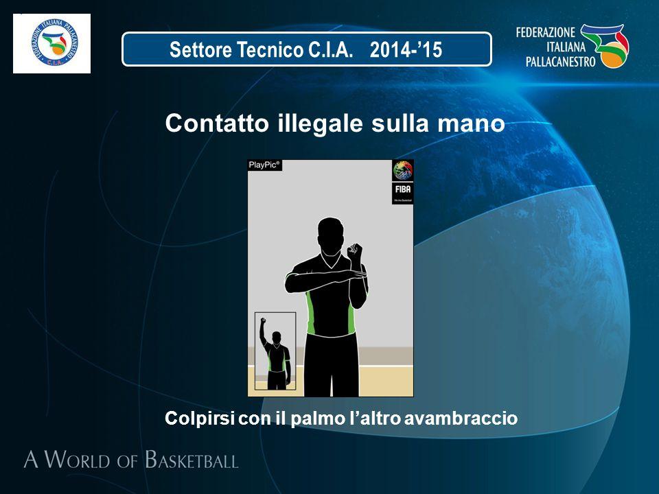 Settore Tecnico C.I.A. 2014-'15 Contatto illegale sulla mano Colpirsi con il palmo l'altro avambraccio