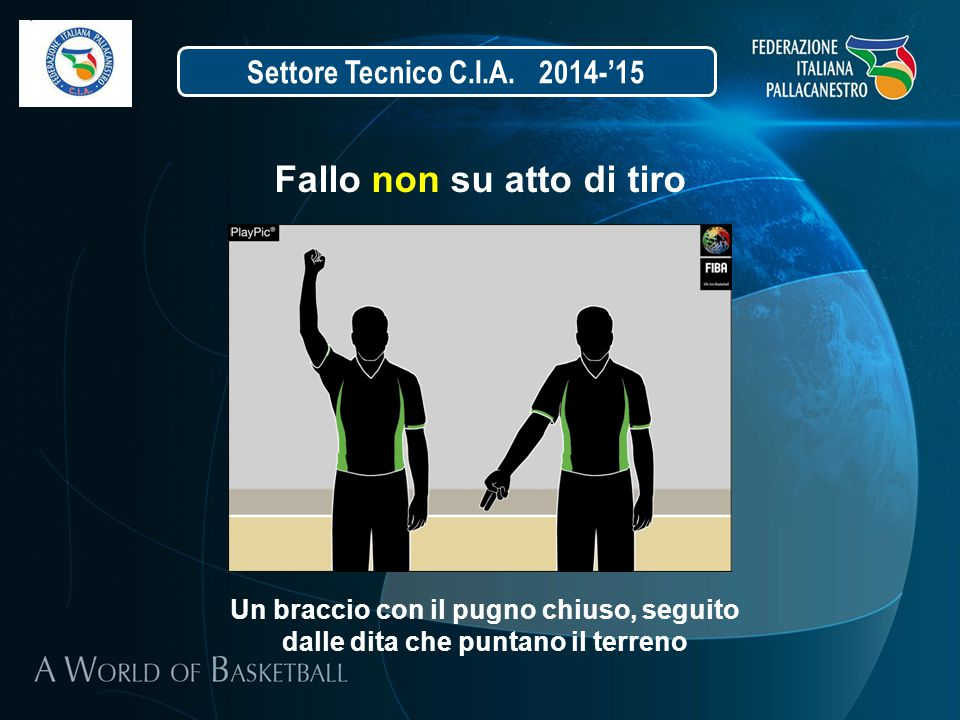 Settore Tecnico C.I.A. 2014-'15 Fallo non su atto di tiro Un braccio con il pugno chiuso, seguito dalle dita che puntano il terreno