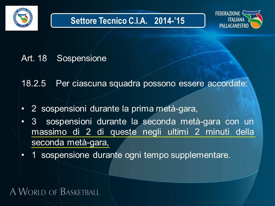 Art. 18 Sospensione 18.2.5 Per ciascuna squadra possono essere accordate: 2 sospensioni durante la prima metà-gara, 3 sospensioni durante la seconda m