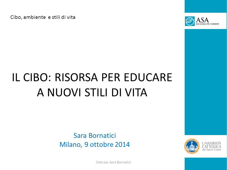Sara Bornatici Milano, 9 ottobre 2014 IL CIBO: RISORSA PER EDUCARE A NUOVI STILI DI VITA Cibo, ambiente e stili di vita Dott.ssa Sara Bornatici